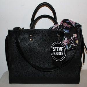 STEVE MADDEN BDANNYY BLACK SATCHEL W SCARF BAG